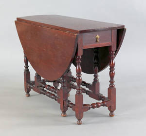 New England William  Mary cherry gateleg table ca 1740