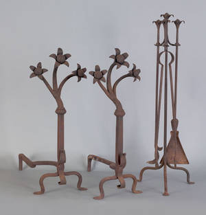 Arts and crafts wrought iron fireplace set 20th c