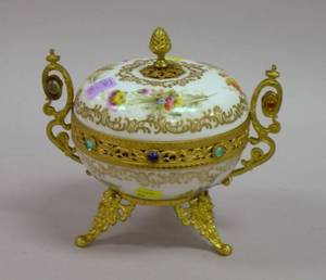French Jeweled Giltmetal Mounted Handpainted Porcelain Cache Pot