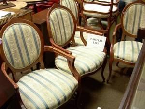 Set of Ten Louis XV Style Upholstered Beechwood Armchairs