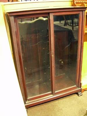 Butler Furniture Late Victorian Mahogany Glazed TwoDoor Book Cabinet