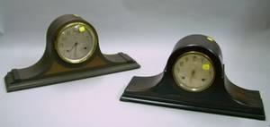 Two Mahogany Tambour Mantel Clocks