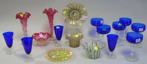 Seventeen Pieces of Art Glass Tableware and Items