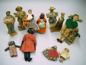 Collection of Five Small Folk Cloth Dolls and Seven Small Ethnographic Costume Dolls