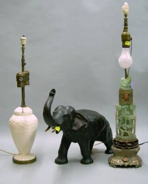 Chinese Green Quartz Table Lamp a Wedgwood Queens Ware Table Lamp and a Japanese Patinated Copperclad Eleph