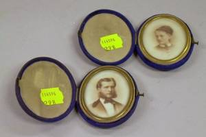 Pair of Late 19th Century Velvet Cased Miniature Portrait Prints
