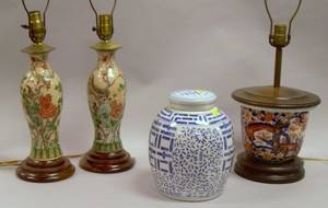 Pair of Chinese Export Porcelain Vase Table Lamps a Modern Blue and White Decorated Porcelain Covered Jar and