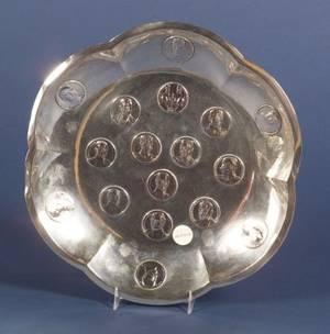 German 800 Silver Medallionset Commemorative Bowl