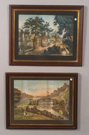 Two Framed Victorian Hand Colored Prints