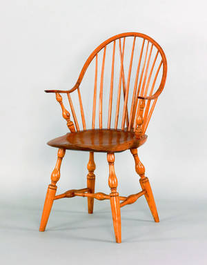 New England continuous arm windsor side chair early 19th c