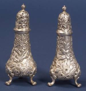 Pair of A Jacobi  Co Repousse Sterling Salt and Pepper Shakers