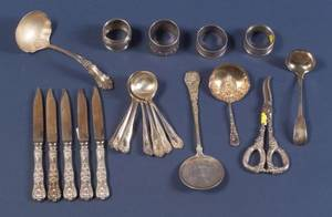 Group of American Sterling Flatware Items and Napkin Rings