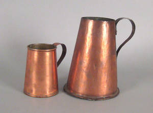 Two copper pitchers 19th c