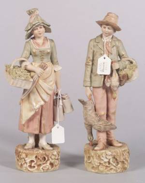 Pair of Royal Dux Porcelain Figures of a Young Boy and Girl