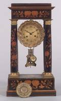 French Empire Revival Marquetry Inlaid Temple Mantel Clock