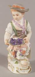 Small Meissen Porcelain Figure of a Girl with a Bowl of Fruit