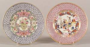 Two European Reticulated Porcelain Chinesestyle Side Plates