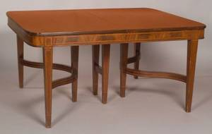 George III Style Inlaid Mahogany Extension Dining Table