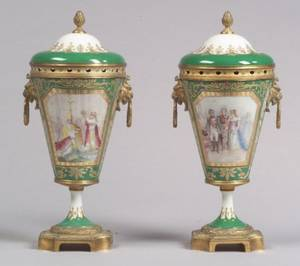 Pair of Sevres Porcelain Giltmetal Mounted Handpainted Potpourri Urns