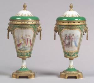 Pair of Sevres Porcelain Giltmetal Mounted Handpainted Potpourri Urns