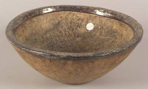 Turned Specimen Wood Bowl with Silver Rim