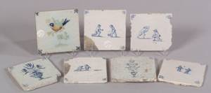 Seven Delft Blue and White Tiles