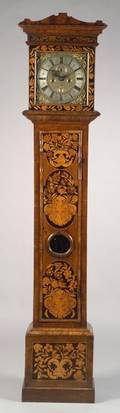 William and Mary Fruitwood Marquetry Inlaid Walnut Tall Case Clock