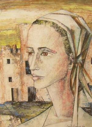 Framed Mixed Media Composition of a Woman with a Head Scarf