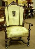 Charles II Style Caned and Upholstered Carved Walnut Armchair