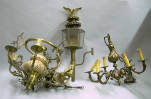 Brass Plated Wall Lantern an Italian Renaissance Style Brass Plated and Ceramic SixLight Chandelier and a Br