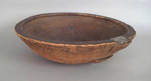Massive New England turned pine bowl 19th c