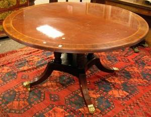 Councill Furniture Regencystyle Circular Inlaid Mahogany and Mahogany Veneer Dining Table