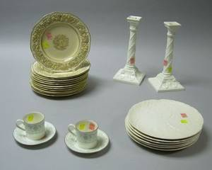 Pair of Royal Worcester Porcelain Columnar Candlesticks and a Pair of Allegro Pattern Cups and Saucers a Set of Six Mintons Porcelain