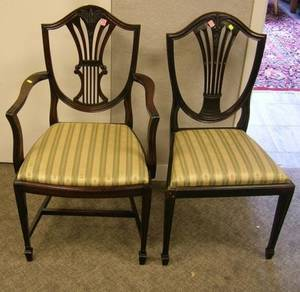 Pair of Federal Carved Mahogany Shieldback Side Chairs
