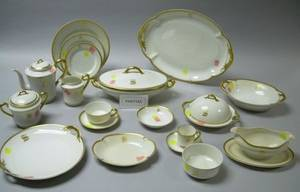 Approximately 137piece Haviland Limoges Gilt Banded Porcelain Dinner Service