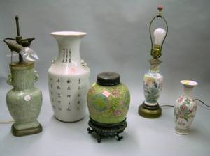Five Chinese Export Porcelain Lamps and Table Items