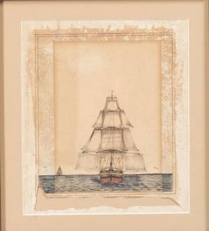 American School 19th Century English East India company Ship in chase of the Potomac
