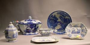English Flow Blue Ironstone Covered Tureen and Ladle and Five Pieces of English Blue and White Transfer Decorated Staffordshire Tablewa