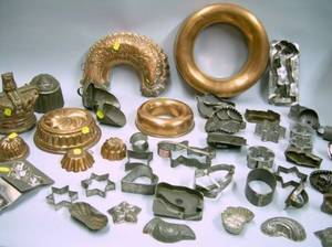 Collection of Approximately Thirtyfour Tin Cookie Cutters Two Tin Scoops and Ten Copper and Tin Moldse2