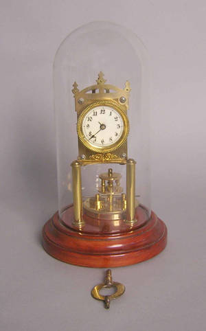 Gustav Becker mantle clock with glass dome