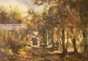 Framed Watercolor Autumn Landscape with a Covered Bridge