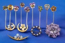 Group of Art Nouveau 14kt Gold and Enamel Flower Pins and Stickpins