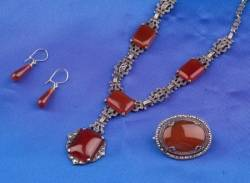 Art Deco Sterling Silver Carnelian and Marcasite Suite
