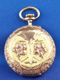 Antique 14kt Bicolor Gold Hunting Case Pocket Watch