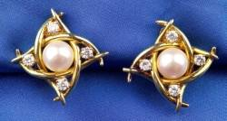 18kt Gold Cultured Pearl and Diamond Earclips Tiffany  Co