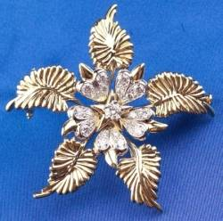 18kt Gold and Diamond Flower Brooch Tiffany Schlumberger Studios