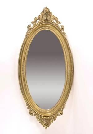 Louis XVI Style Oval Gilt Wood Mirror