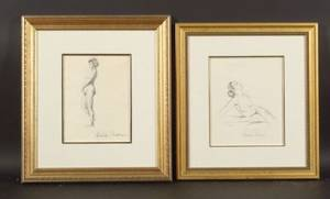 Paul Emile Pissarro French 18841972 Two Sketches of Female Nudes Femme de lArtiste Yvonne
