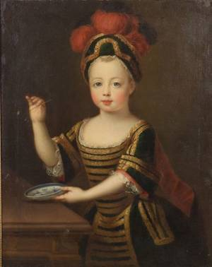 Attributed to Pierre Gobert French 16621744 Portrait of a Child Purported to be the Prince de Loraine