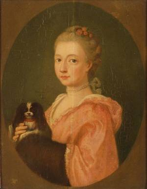 Attributed to Johann Heinrich Tischbein German 1722  1789 Portrait of a Woman and Her Dog